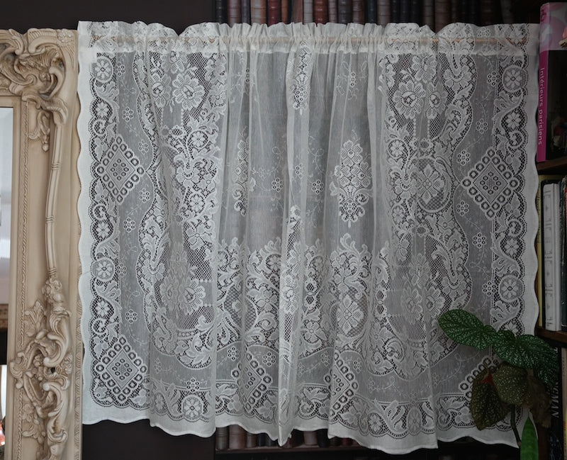 """Jessica"" Victorian Style Cream Cotton Lace Curtain Panel Ready To Hang - 58"" x 36"" 147 x 91cms"