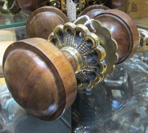Brass & Wood  Door Knobs 1 Pair