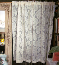 Paisley-Antique Style Ivory Madras Cotton Lace Curtain Panelling remnant - 64 x 30 Inches-
