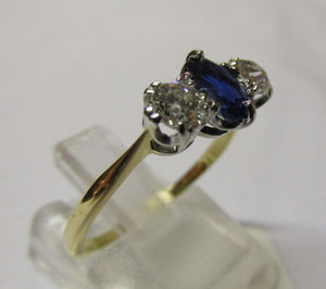 18ct Yellow Gold Diamond and Sapphire 3 Stone Ring Size O