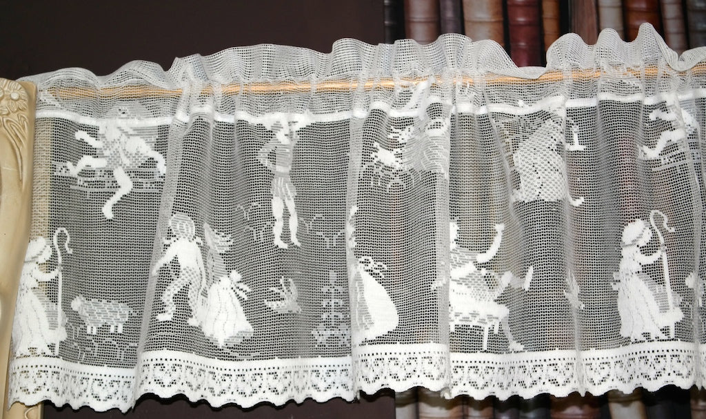 Nursery Rhymes Scottish Cotton Lace Valance Curtain Panel - 12