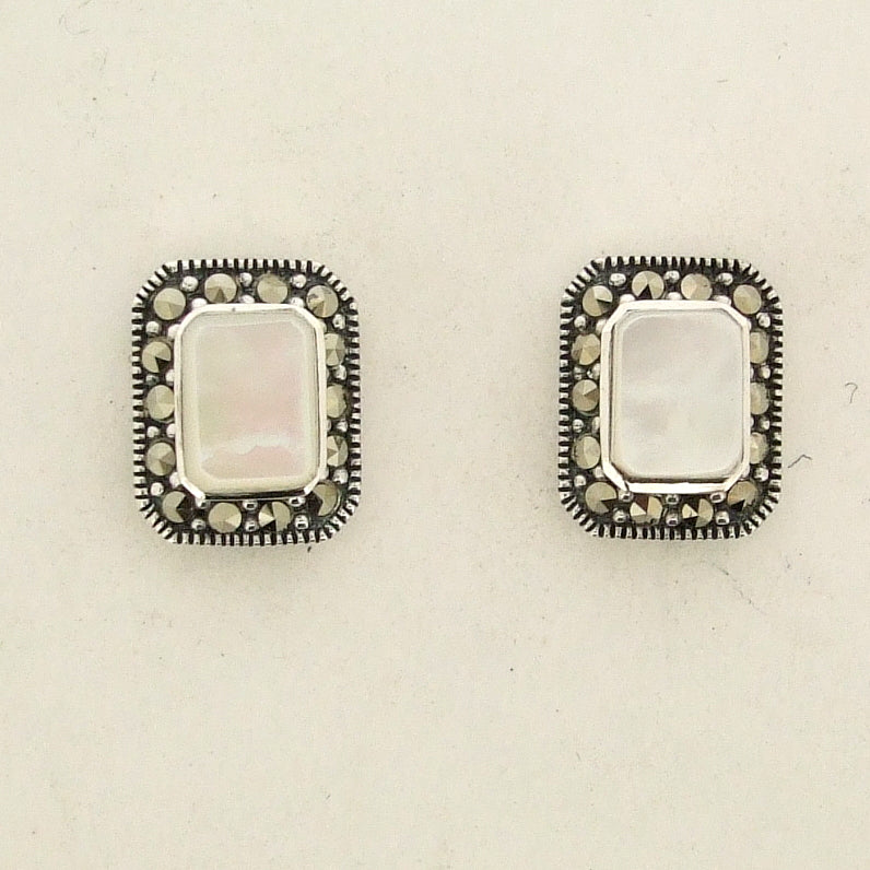 Silver Marcasite Mother of Pearl Stud Earrings