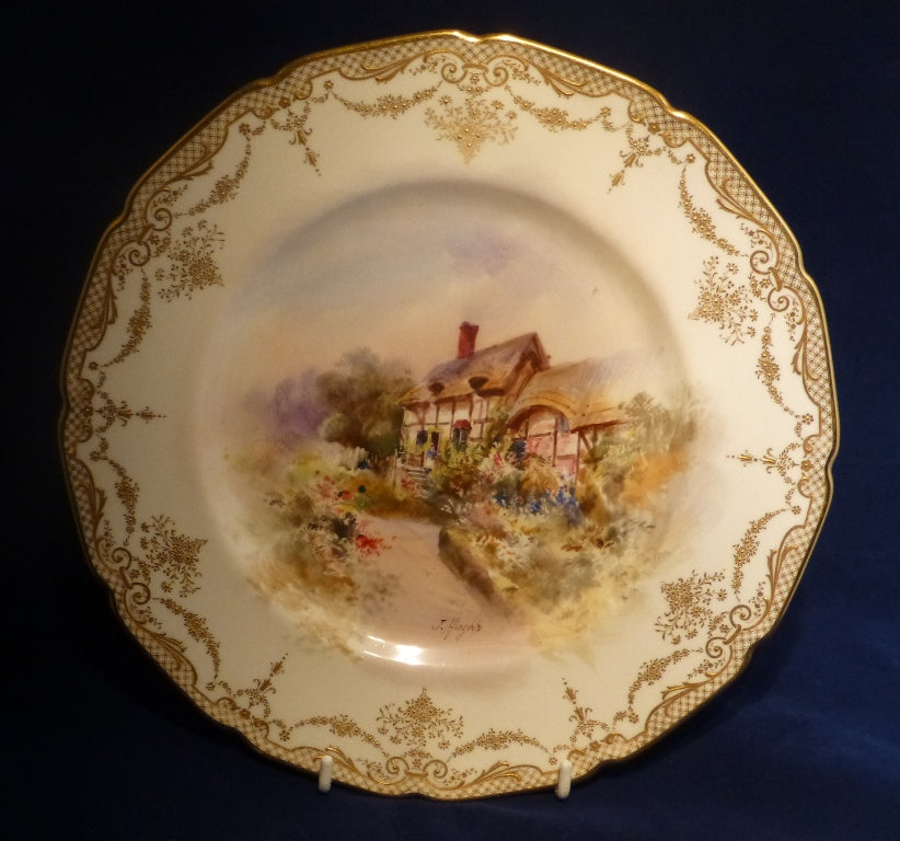 Royal Doulton Heavy Gilded Cabinet Plate Signed by J Hughs - C1920