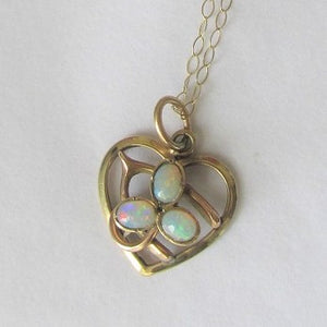 Antique Edwardian 15ct Yellow Gold and Opal Pendant