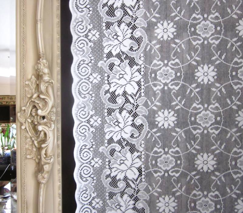Victorianna- Victorian Style White Cotton Lace sash window Curtain Panel- readymade 36