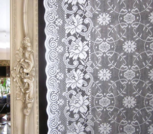 Victoria anna- Victorian design Cream Cotton Lace Curtain Panelling By The Metre- Width 130 cms