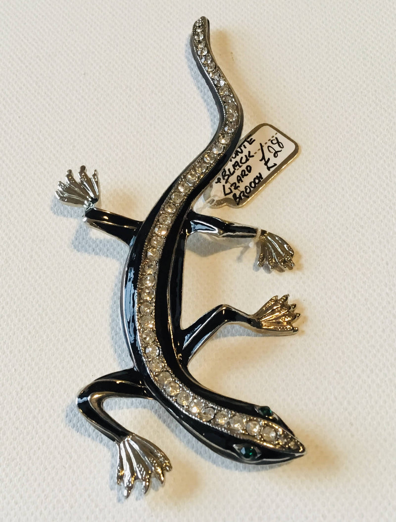 Diamonte and Black Lizard Brooch