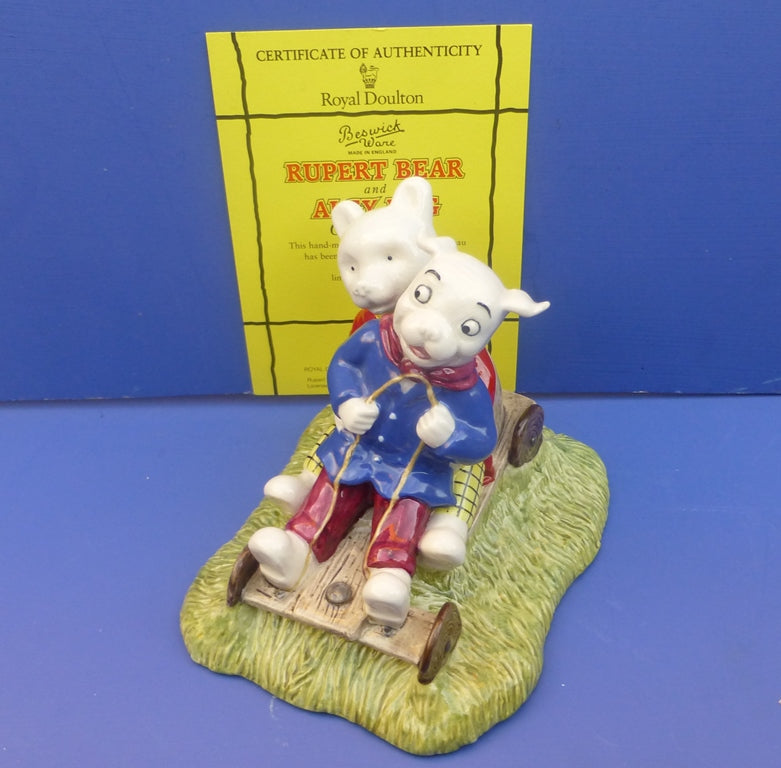 Beswick Limited Edition Rupert Bear and Algy Pug Go-Carting (Boxed)