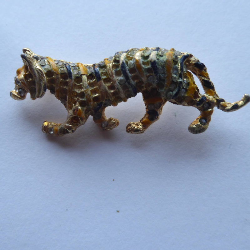 Goldtone Tiger Brooch