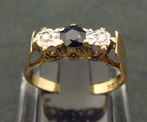 9ct gold, sapphire and diamond ring, 1989
