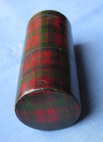Antique Robertson Clan Tartanware Cylindrical Needlecase/Box/Case/Tartan/Needle