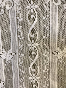"Cherubs White Cotton Lace Curtain Panelling 29""wide off the roll"