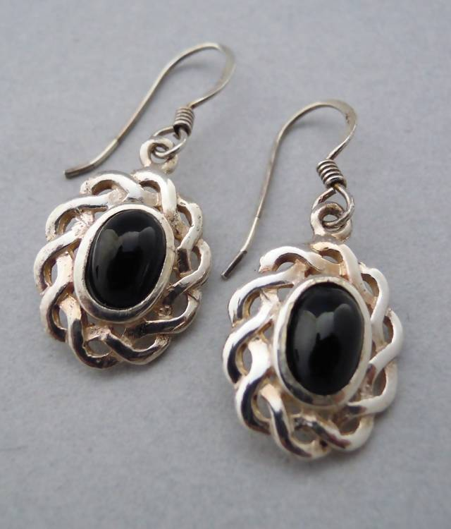 Silver Whitby Jet oval earrings