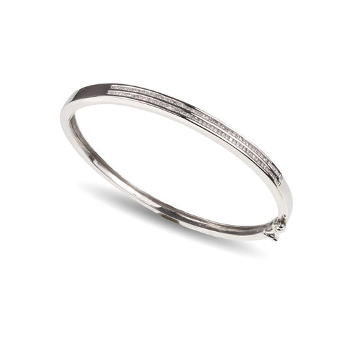 14ct White Gold Princess Cut Diamond Bangle
