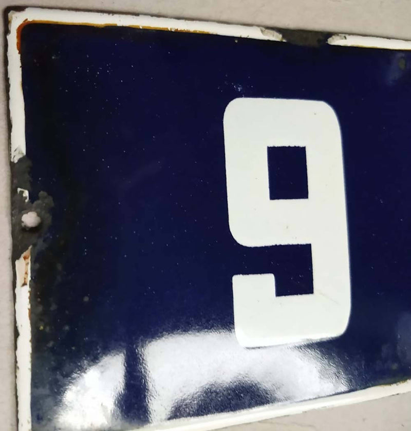 French Enamel House Numbers No 9