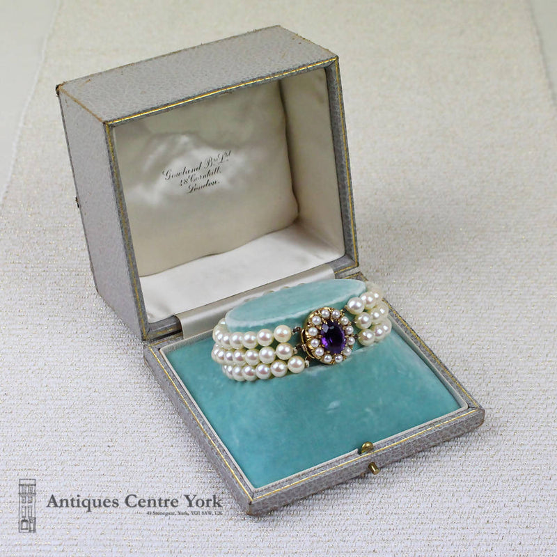 9ct Cultured Pearl & Amethyst 3 Row Bracelet