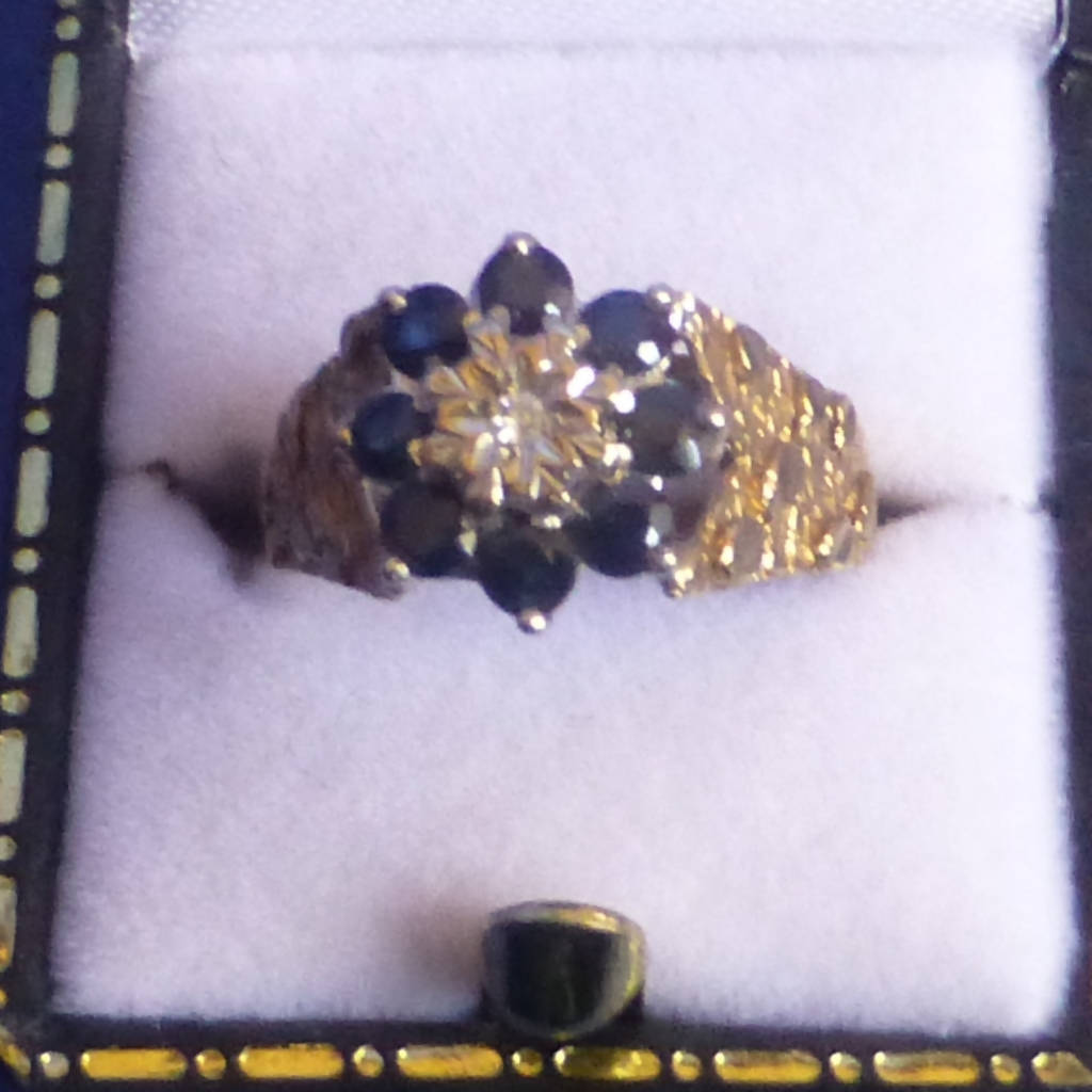 9ct Gold Sapphire and Diamond Ring Size L + 1/2