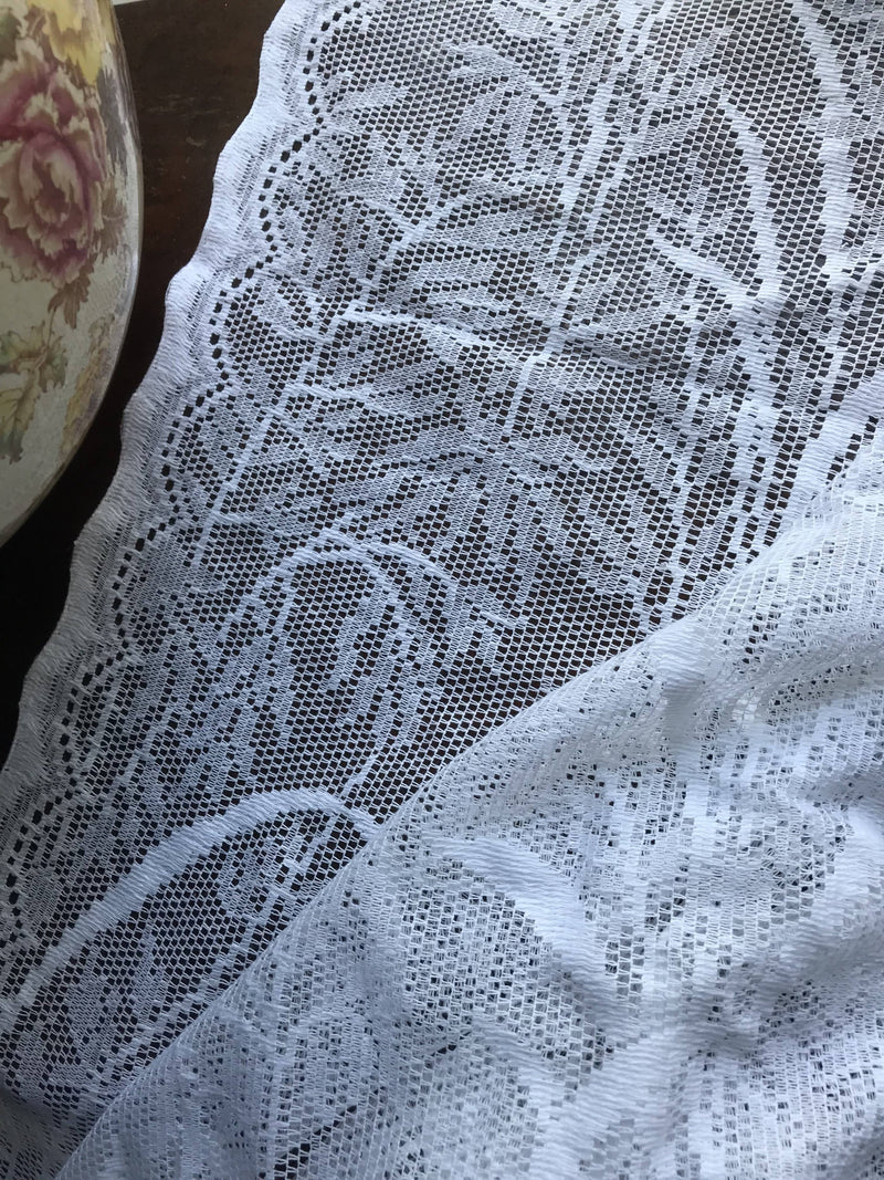 "Wanda Fern leaves - Victorian Style White Cotton Lace Curtain Panelling 1.5 m 60"" wide - sold per metre"