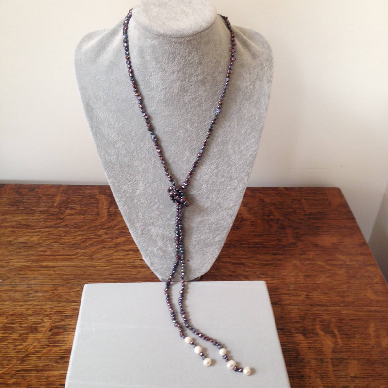 Freshwater cultured pearl lariat style necklace