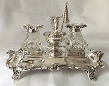 William IV silver inkstand with twin inkwells and central chamberstick holder. Sheffield 1837/45 Henry Wilkinson & Co. 17 troy ounces.