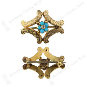 Victorian Gold, Turquoise & Diamond Brooch