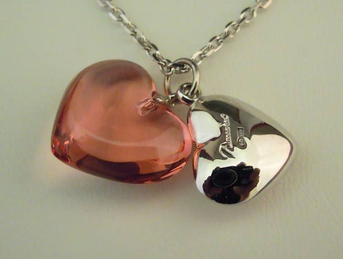 Baccarat silver and pink crystal heart necklace