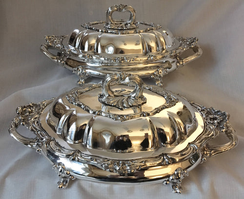 Victorian pair of silver plated entree dishes, covers and warming stands. Circa 1854 - 1888.