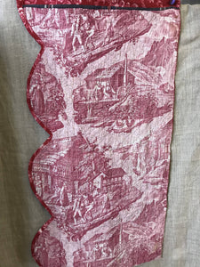 Beautiful c 1800 antique toile de jouy reversible Cotton valance