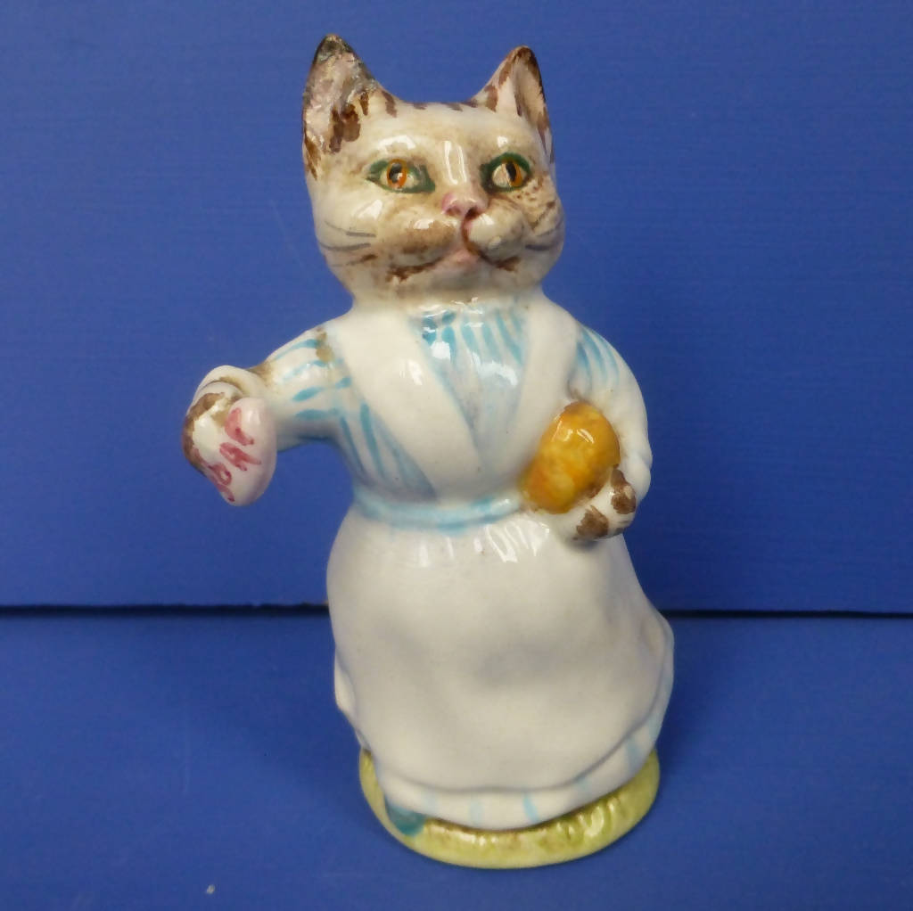 Beswick Beatrix Potter Figurine Tabitha Twitchet (First Edition, Blue Striped Top) BP3A