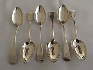 Georgian, George III, set of six silver tablespoons. London 1820 Solomon Royes. 15.4 troy ounces.