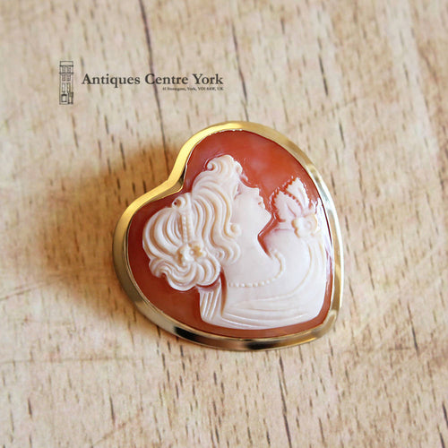 1980's 9ct Gold Heart Cameo Brooch/Pendant
