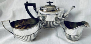George V Period Silver Plated Tea Set with Part Fluted Decoration, Circa 1920's.
