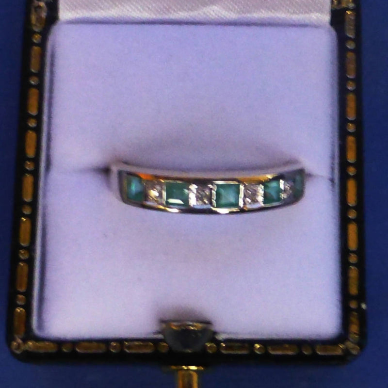 9ct Gold Emerald and Diamond Eternity Ring Size M