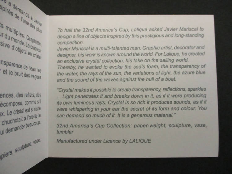 Lalique 32nd America's cup paperweight