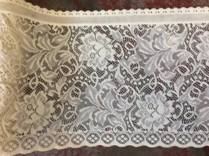 "Laura Rose cream cotton floral cafe curtain topper Curtain valance panel 18"" drop by the metre"