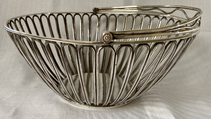 Georgian, George III, Old Sheffield Plate Wirework Swing Handled Basket, circa 1800.