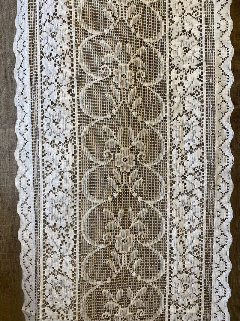 "Ivory enchanted garden readymade Cotton Lace Curtain Panel - 16""/69""Inches"