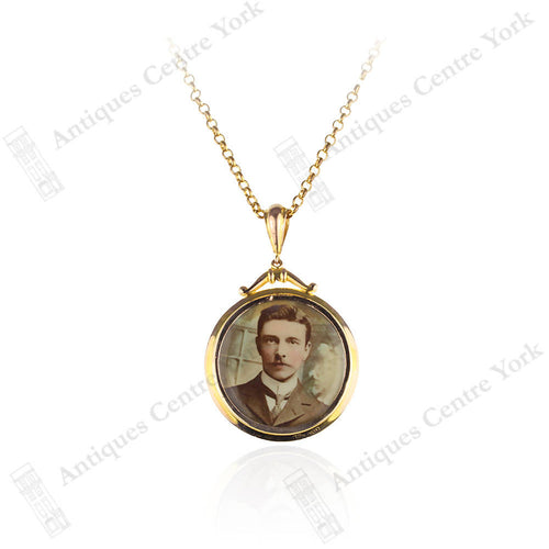 Edwardian 9ct Gold Open Locket & Chain