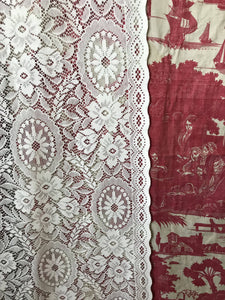 "Katarine Lace curtain panel cream pure cotton lace period design readymade 50""/116"""