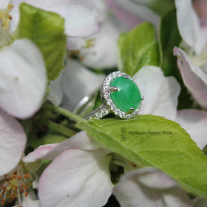 18ct White Gold Fine Jade & Diamond Cluster Ring