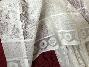 "Arts & Crafts Candace Wheeler Honey bees design Cream lace curtain panel 58""/62"" long"