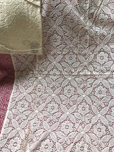 "Sandy Vintage new old stock period arts & crafts ecru cotton Scottish Lace Curtain Panel - 46""/31""Inches"
