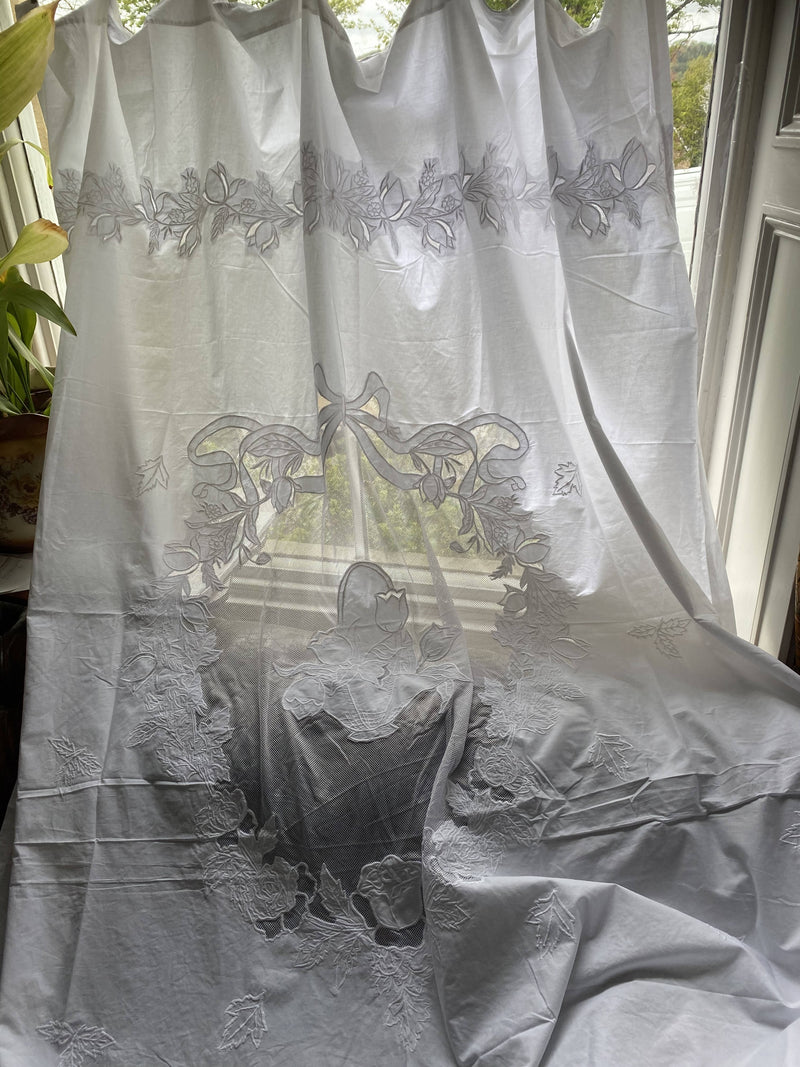 "French Château white embroidered Tambour Curtain Panel Exceptional 60""/95"""