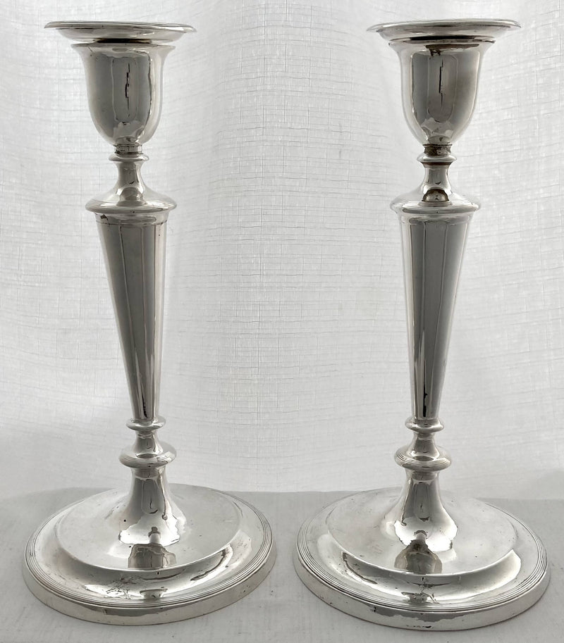 Georgian, George III, Pair of Crested Silver Candlesticks. Sheffield 1793 John Parsons & Co.