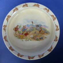 "Royal Doulton Large Bunnykins Baby Plate / Oatmeal ""Beware Of The Bull"""