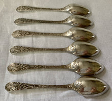 Late Victorian cased set of naturalistic double struck teaspoons and sugar tongs, circa 1880 - 1900.