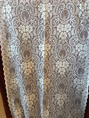 Marthe - Victorian Style white Cotton Lace Curtain Panelling By The Metre- Width 90cms - 36