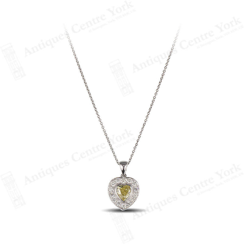 18ct White Gold Yellow & White Diamond Heart 1.10cts