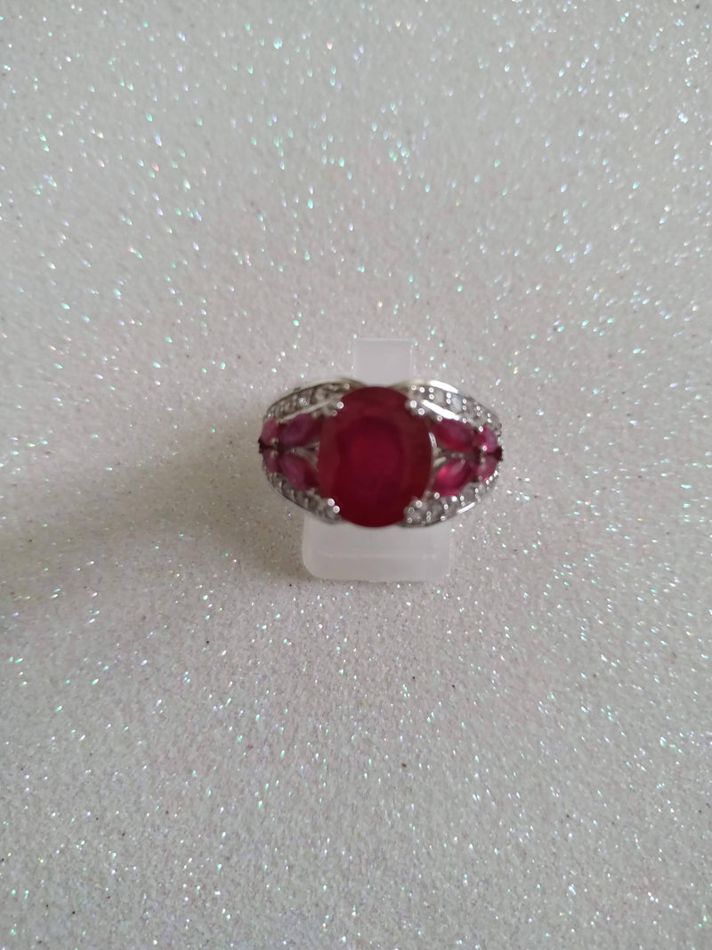 Ruby and Zircon Ring Size P/Q