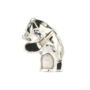 Silver Panda Brooch Marcasite Mother of Pearl Black
